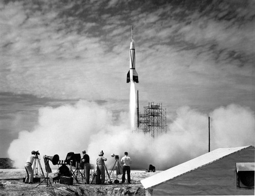July 1950. Launch of the first rocket from Cape Canaveral. The Bumper was a two-stage rocket program that topped a V-2 missile base with a WAC Corporal rocket.