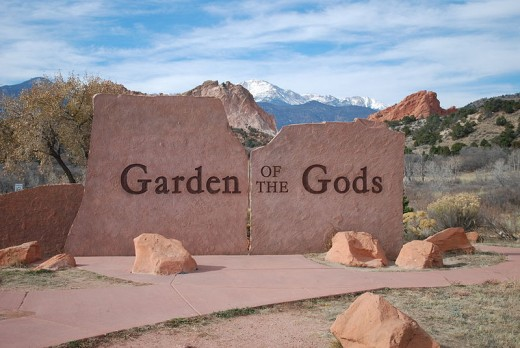Entrance to the Garden with a view of Pikes Peak