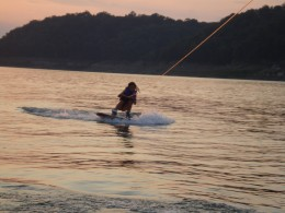 Wakeboarding-all part of the fun of a houseboat vacation.