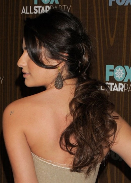 Lea Michelle (Star of Fox's hit show Glee) rocks a wavy ponytail.
