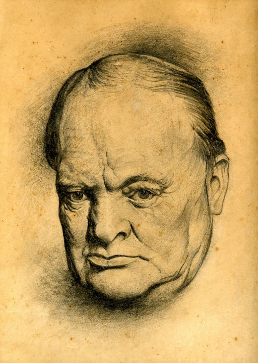 Winston Churchill. Drawing by Lyn Ott in 1942