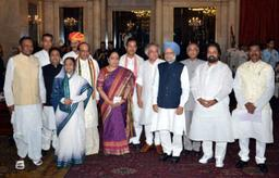 The much-awaited Cabinet reshuffle took place on Tuesday with Prime Minister Manmohan Singh dropping seven Ministers and inducting eight new faces. Dr. Singh termed the exercise as the last one before the next Lok Sabha polls. Images from the swearin