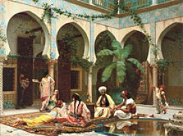 A scene depicting a middle or far eastern harem