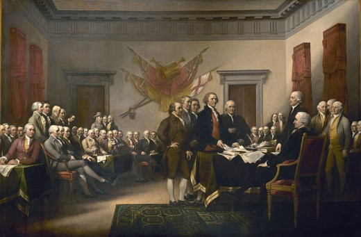 The Founding Fathers presenting their draft of the Declaration of Independence to the Congress on June 28, 1776. Painting by John Trumbull