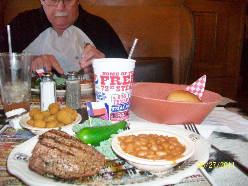 The tasty and tender hand-rubbed Steak, cowboy beans, fried okra and rolls were delectable.