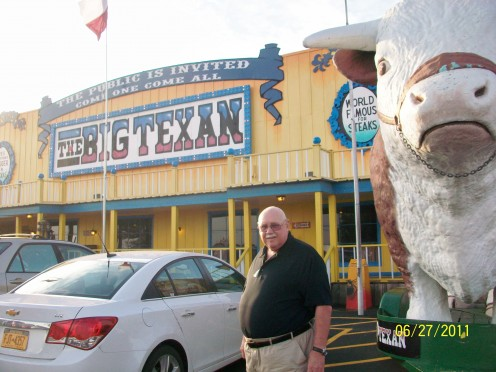 Outside the Big Texan Steak Ranch in Amarillo, Texas!