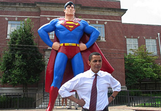 Obama poses in front of the Superman Statue in downtown Metropolis, IL. 14 August 2006.
