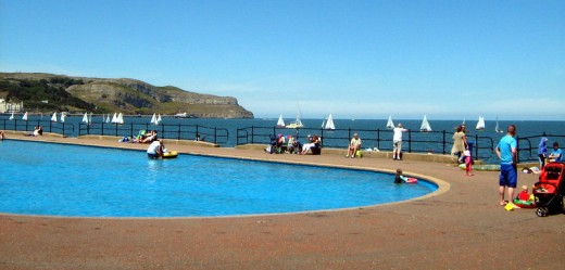Swimming Pool with the Great Orme to the left