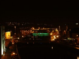 Cork City and the Lee River Southern Channel by night