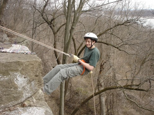 Rapelling down the side of a bluff can be a fun challenge