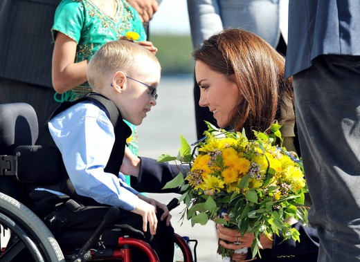 The Duchess talks to Riley Oldford, 6, before boarding a plane at Yellowknife Airport