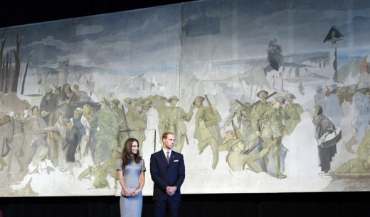 The Royal couple unveil an unfinished mural during a reception at the Canadian War Museum in Ottawa