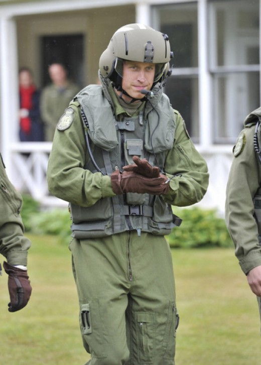 The Duke heads toward a Sea King helicopter, ready to take part in an emergency landing exercise
