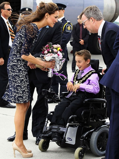 The Royal couple were greeted at the Ottawa Airport by Mayor Jim Watson and Kellen Schleyer, 9, who has cerebral palsy and is in a wheelchair