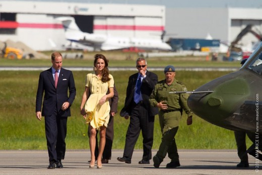 The Duke and Duchess arrive in Calgary via miliatry helicopter on July 7th, 2011