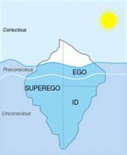 The Superego and ego are elements of our conscious reality. The ego acts as an intermediary between the subconcious id and partialyy conscious superego.