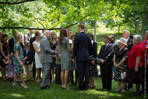 The Duke and Duchess speak with guests after the tree planting ceremony in the Royal Grove at Rideau Hall