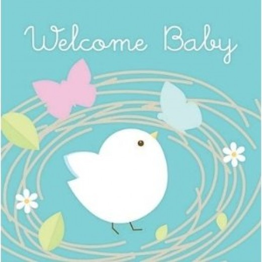 "Nesting Birds ""Welcome Baby"" Lunch Napkins"