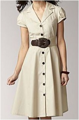 Tan Shirt Dress.