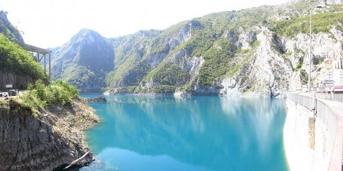 A beautiful view of the Piva Lake Reservoir above the dam.
