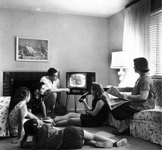 1950s family watching television