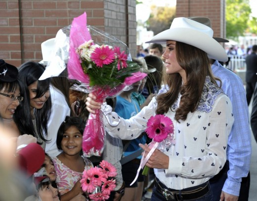 The Duchess in rodeo attire for the preview events held in their honour at the Calgary Stampede