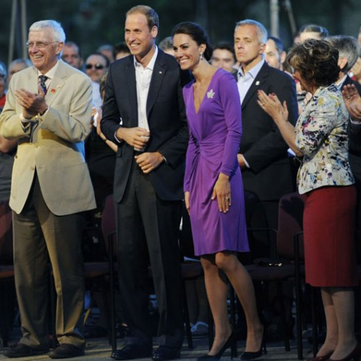 The Duchess wore an Issa purple dress to the Evening National Canada Day Celebrations
