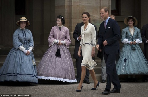 The Duke and Duchess arrive at Province House in Charlottetown, complete with people dressed in period costumes suitable for the birthplace of Confederation