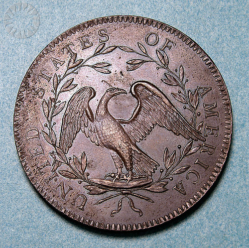 Pictured here is the reverse of the Flowing Hair Silver dollar, almost identical to the reverse on the Draped Bust silver dollar (1795 - 1798).