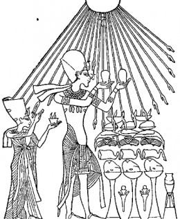 An illustration of a different relief showing Akhenaten and his wife Nefertiti worshipping the Aten.