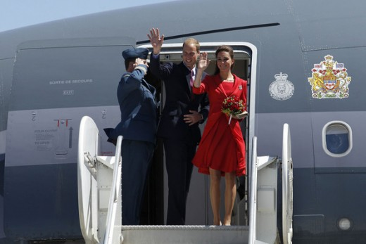 The Duke and Duchess wave good-bye as they depart from Calgary International Airport  to Los Angeles to start their U.S. tour