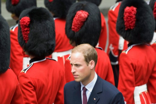 The Duke inspects the Royal 22nd Regiment honour guard during a ceremony at city hall in Quebec City