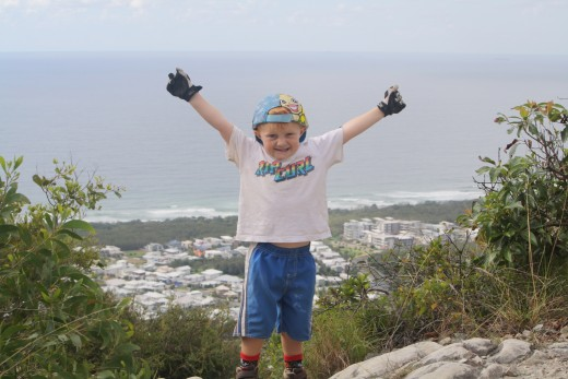 Ryder three months after major open heart operation, climbs Mt Coolum on the sunshine coast and is on top of the world