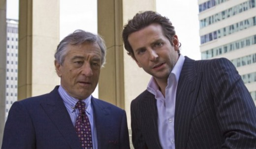 Robert De Niro as Carl Van Loon and Bradley Cooper as Eddie Mora