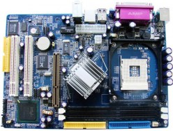 Components on a motherboard.
