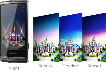 Disney Mobile Japan DM009SH Android phone, custom live wallpaper featuring Magic Castle