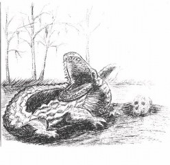 """Review of """"Momma Mud'"""", the alligator in the Legacy of the Skull Master"""