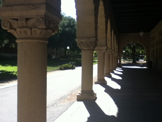 The pathways around the quad at Stanford are always busy, but as the day comes to a close and the shadows lengthen, the campus empties and everything becomes calm.