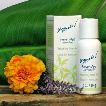 PreventAge uses soothing natural ingredients to reduce the impact of environmental factors that contribute to signs of aging.  Rich in botanical extracts and vitamins.