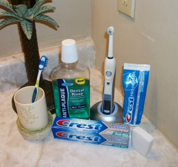 Essential items for good dental hygeine.