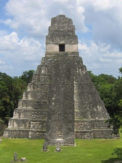 The temple at Tikal, one of the capitals of the Mayan empire. Today it is a UNESCO world heritage site and one of the best understood archaeological sites in the world.