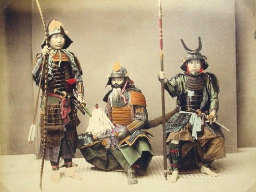colored photo of late-19th century samurai  Note the various weaponsHistorical Samurai Warriors
