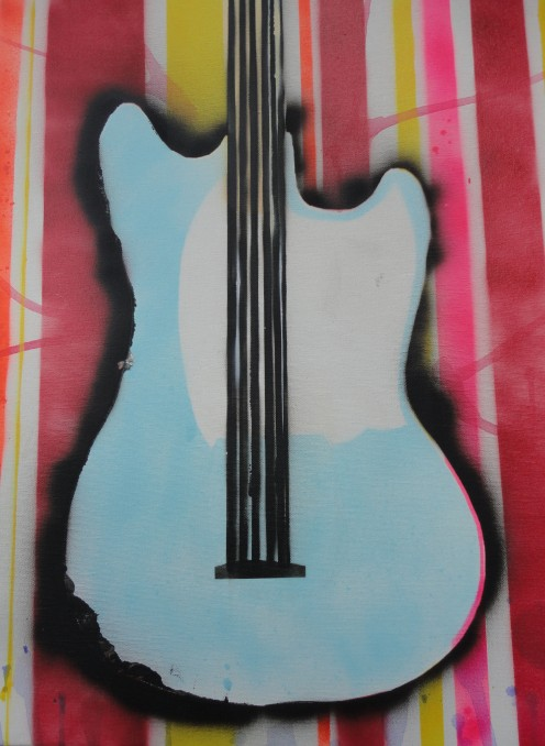 Image of another guitar painting by Kyle Maier using spray paint and stenciling techniques