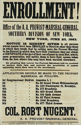 Recruiting poster, New York printed by Baker & Godwin, June 23, 1863