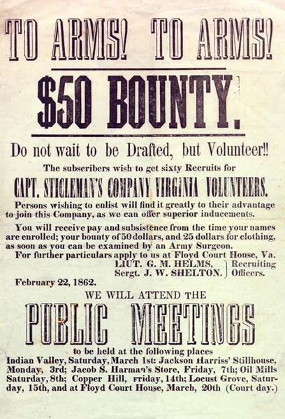 Recruiting poster for the Confederate States of America, Floyd County, Virginia, February 1862