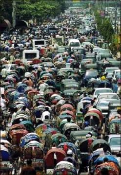 Traffic jam in Dhaka City (Capital of Bangladesh)