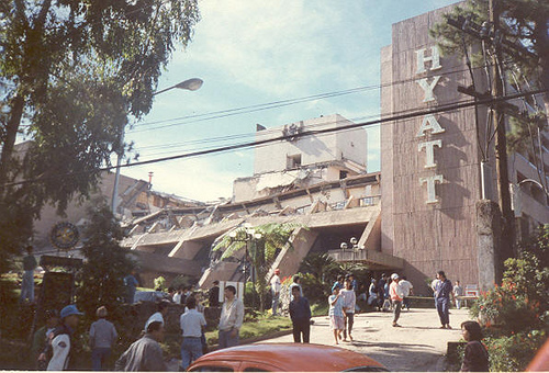 Hyatt Hotel, Baguio after 1990 earthquake. My husband still a cadet at the time with the Philippine Military Academy was part of the rescue efforts.