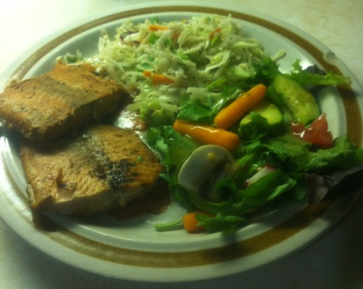 Grilled Salmon Fillets with Coleslaw and Kitchen Sink Salad