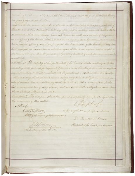 The last page of the 14th amendment to the U.S. Constitution