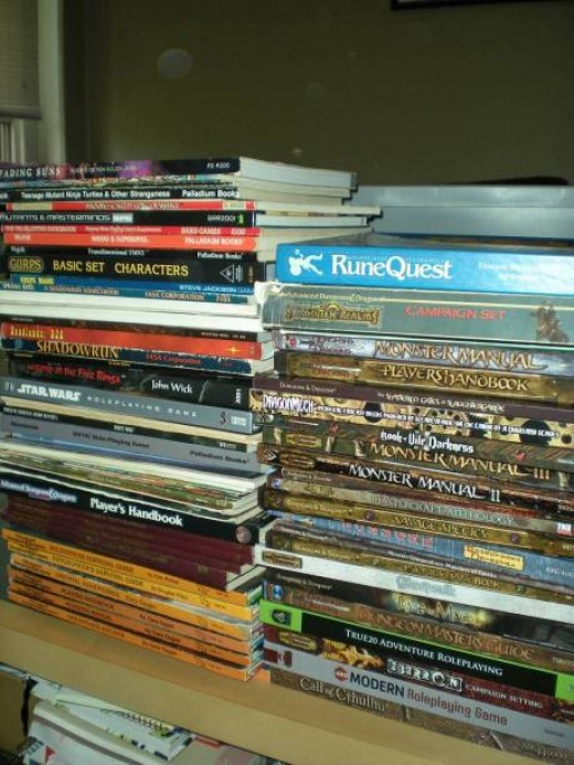An example of the typical shelf of an RPG fan.